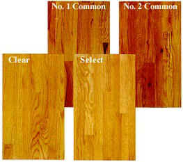 4 most common grades of oak